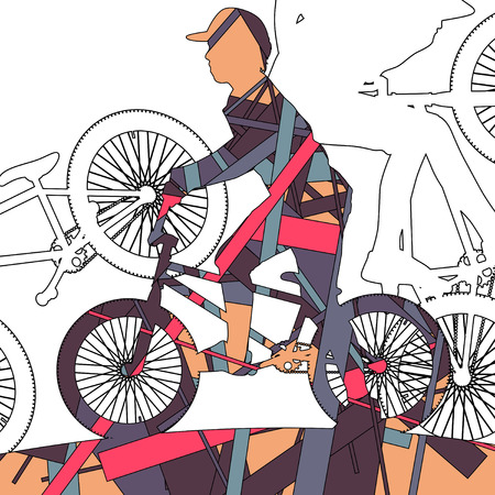 Children extreme cyclists young and active people sport silhouettes vector mosaic background illustration