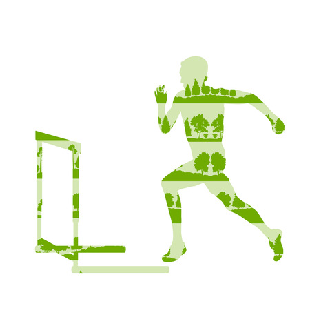 Hurdler in race vector background concept made of forest trees fragments isolated on white Illustration
