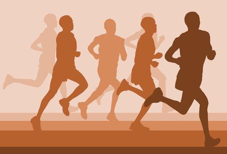 people: Running marathon people group vector illustration background