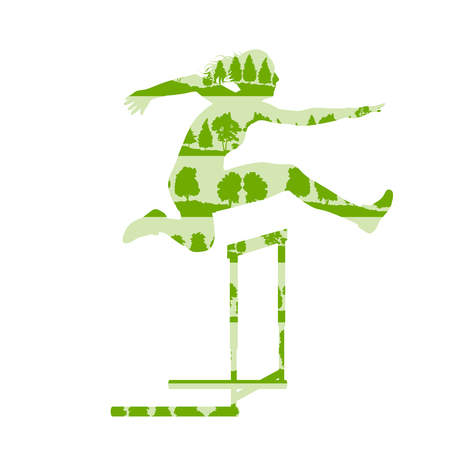 racecourse: Woman athlete hurdle race vector background concept made of forest trees fragments isolated on white