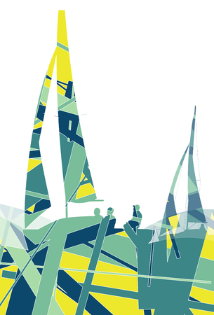 yacht race: Sailors yachts in sea abstract graphic line mosaic background illustration vector