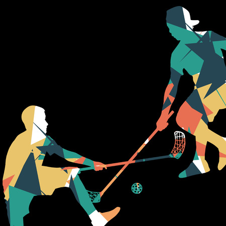 Floorball players silhouettes active and healthy sport vector abstract mosaic background illustration