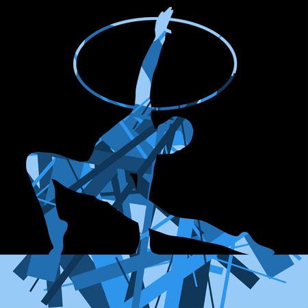 calisthenics: Girl calisthenics sport gymnast silhouette with spinning ring in abstract graphic mosaic background illustration vector