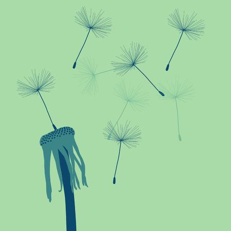 vintage colors: Dandelion with buds vector background vintage colors Illustration