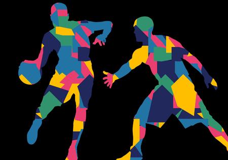 sportsman: jóvenes jugadores de baloncesto siluetas deportivas activas vector de fondo abstracto ilustración Vectores