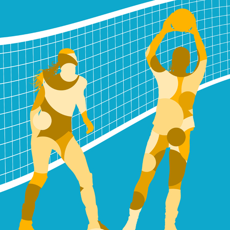 women sport: On blue Active young women volleyball player sport silhouettes in abstract color round mosaic background illustration vector