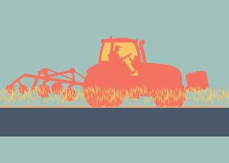 Tractor plowing and cultivating soil field vector background Illustration