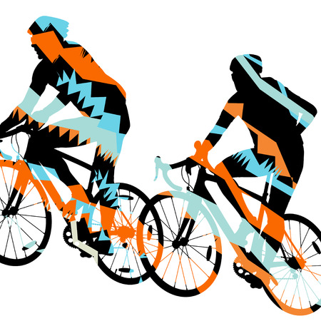 Sport road bike riders bicycle silhouette in abstract mosaic background illustration vector
