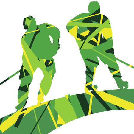 competitor: Hockey player sport silhouettes mosaic abstract background illustration vector