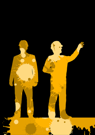 Engineer detailed construction site worker silhouettes illustration mosaic color paint splashes background vector Illustration