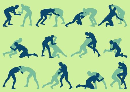 wrestle: Wrestling active men fight action greek roman sport silhouette vector set
