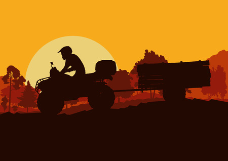 All terrain vehicle driver towing trailer with logs landscape outdoor activity vector background