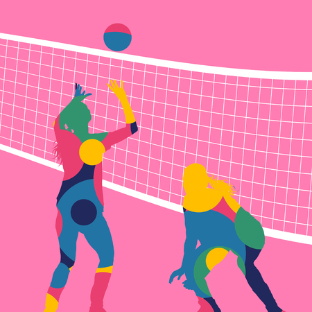 Active young women volleyball player sport silhouettes in abstract color round mosaic background illustration vector Illustration