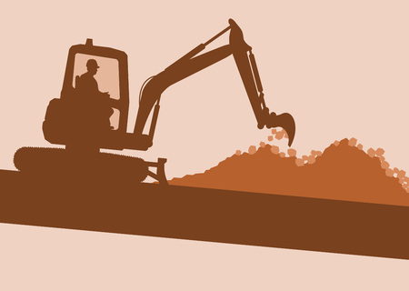 Illustration of Mini excavator with worker inside cabin working in construction site vector background Illustration