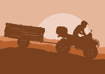 Hermoso marrón Ilustración de Todo terreno vehículo conductor remolque remolque con troncos paisaje al aire libre actividad vector de fondo Ilustración de vector