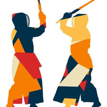 Active japanese kendo sword martial arts fighters sport silhouettes abstract mosaic illustration background vector