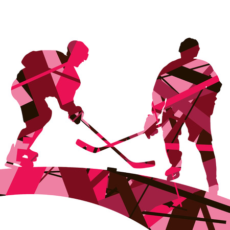 Hockey player sport silhouettes mosaic abstract background illustration vector on neon pink back ground.