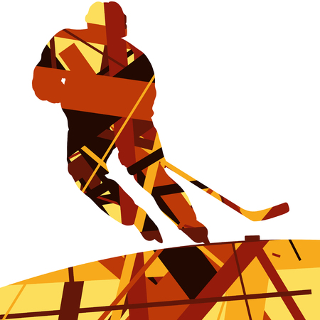 Hockey player sport silhouettes mosaic abstract background illustration vector on neon orange background. Illustration