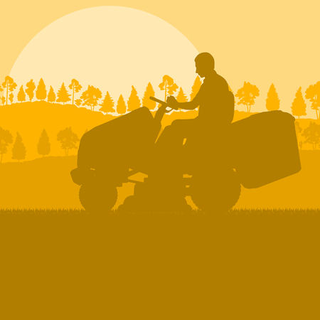 Gardener with lawn mower tractor cutting grass vector background landscape