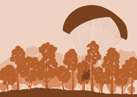 parachute jump: Beautiful paragliding jump landscape vector background