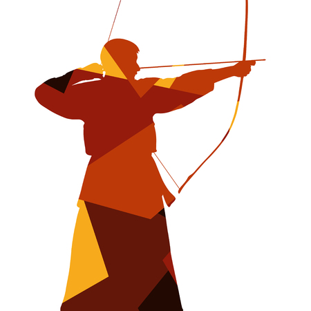 Cool Active japanese kendo sword martial arts fighters sport silhouettes abstract mosaic illustration background vector