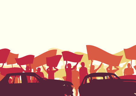 Protest people crowd and broken car silhouette vector background landscape demonstrate concept