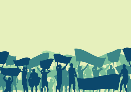 Cute illustration of a protest people crowd and broken car silhouette vector background landscape demonstrate concept