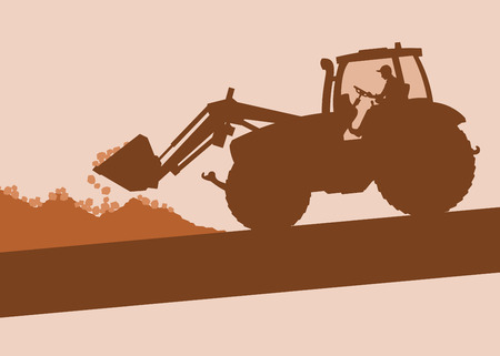 Cute illustration of a Farm tractor with worker inside cabin working in field vector background
