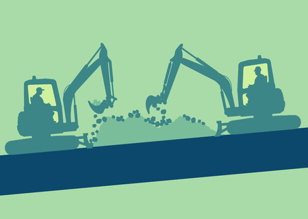 Cute illustration of a Mini excavator with worker inside cabin working in construction site vector background