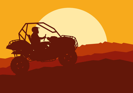 Cute illustration of an all terrain vehicle driver landscape with trees outdoor activity vector background