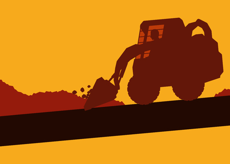 earth mover: Cute illustration of an excavator with worker inside cabin working in construction site vector background