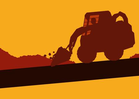 cargador frontal: Linda ilustración de una excavadora con el trabajador dentro de la cabina trabajando en el sitio de construcción vector de fondo