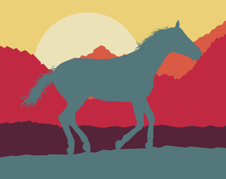 mountain sunset: Horse wild mountain landscape with sunset vector background
