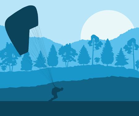 Cool illustration of a blue Paragliding jump landscape vector background.