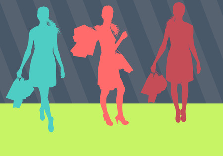 black fashion model: Illustration of a cool woman with shopping bags standing happy vector background
