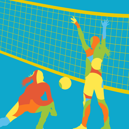 women sport: Illustration of a dynamic Active young women volleyball player sport silhouettes in abstract color round mosaic background illustration vector