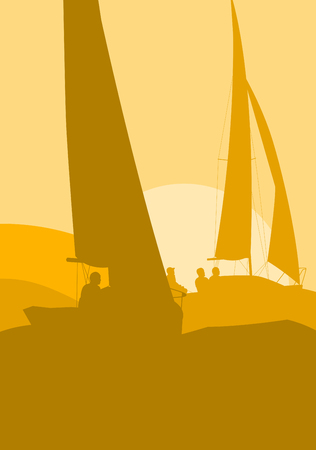 yellow landscape: Illustration of a dynamic yellow Yachts sailing regatta ocean landscape with sunset vector Illustration
