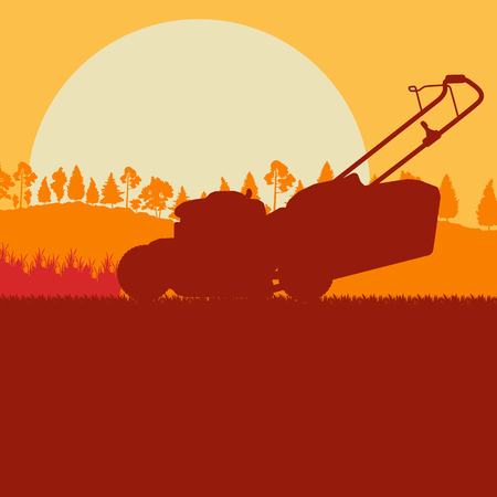 Artistic concept of a Woman with lawn mover cutting grass vector background landscape with sunset