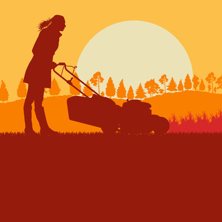 mowing the grass: Creative concept of a Woman with lawn mover cutting grass vector background