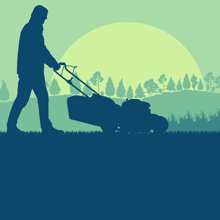 mow: Man Creative concept of a  lawn mover cutting grass vector background