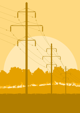 Creative concept of a distribution high voltage power line tower sunset landscape with wires and trees vector background