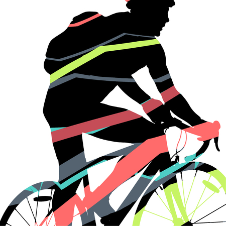Creative concept of a bike riders bicycle silhouette in abstract mosaic background illustration vector