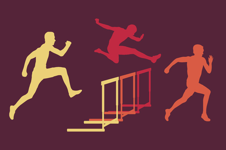 hurdling: Creative concept of a man jumping over obstacle retro color vector background Illustration