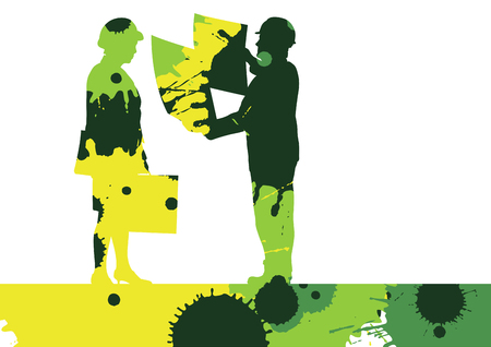 Creative concept of a construction site worker silhouettes illustration mosaic color paint splashes background vector Illustration