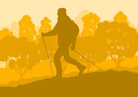 Creatief concept van een wandelende man landschap met bosbomen vector achtergrond