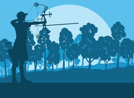 Creative concept of a bow outdoor training in front of forest trees vector background sunset