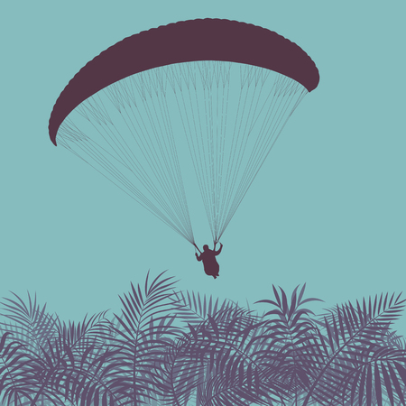 Graphic concept of a blue Paragliding jump landscape vector background Illustration
