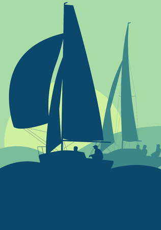 deportes nauticos: Graphic concept of a sailing regatta ocean landscape with sunset vector