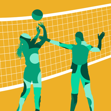 Graphic concept of a player sport silhouettes in abstract color round mosaic background illustration vector Illustration