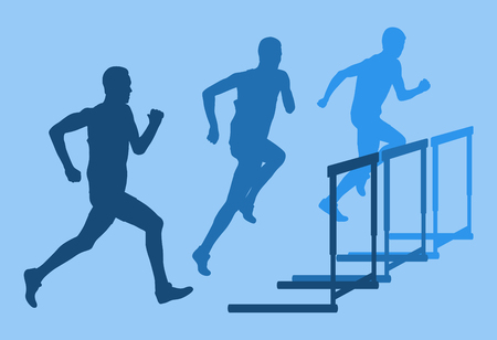 hurdling: Graphic concept of a jumping over obstacle retro color vector background